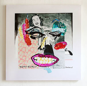 2015, 80x80cm, hand embroidery on canvas, sequins, print, acrylic